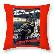 America's Fishing Fleet And Men  Throw Pillow