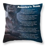 America's Team Poetry Art Throw Pillow by Stanley Mathis
