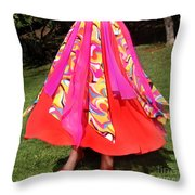 Ameynra Belly Dance Fashion - Multi-color Skirt 93 Throw Pillow