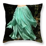 Ameynra Design Aqua-green Chiffon Skirt Throw Pillow