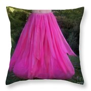 Ameynra Design Pink Chiffon Petal Skirt Throw Pillow