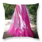 Ameynra Design - Pink-white Petal Skirt 146 Throw Pillow