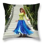 Ameynra Fashion. Petal Skirt. Model Sofia Throw Pillow