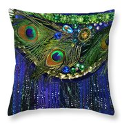 Ameynra Fashion Skirt With Peacock Feathers Throw Pillow