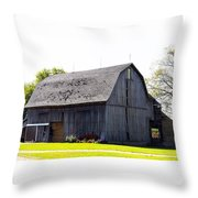 Amish Barn With Gambrel Roof And Hay Bales Indiana Usa Throw Pillow