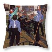 Amish Boys Play Volleyball Farm Throw Pillow