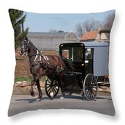 Amish Buggy And High Stepper Throw Pillow