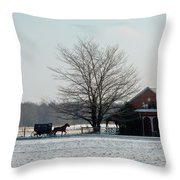 Amish Buggy And Old School Throw Pillow