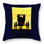 Amish Buggy At Dusk Throw Pillow