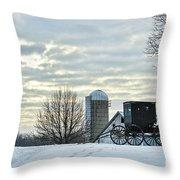 Amish Buggy At Morning Throw Pillow