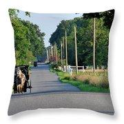 Amish Buggy Sunny Summer Throw Pillow