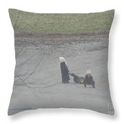 Amish Children Play Outside In The Evening Throw Pillow