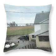 Amish Children Walk To The Barn Throw Pillow