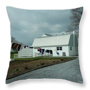 Amish Clothesline And A Barn Throw Pillow