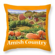 Amish Country T Shirt - Appalachian Pumpkin Patch Country Farm Landscape 2 Throw Pillow