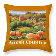 Amish Country T Shirt - Pumpkin Patch Country Farm Landscape 2 Throw Pillow