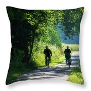 Amish Couple On Bicycles Throw Pillow