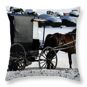 Amish Crossing Throw Pillow