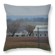 Amish Farm After Harvest Throw Pillow