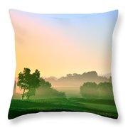 Amish Farm Sunrise Throw Pillow