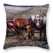 Amish Farming Team Throw Pillow