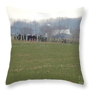 Amish Friends Gather Throw Pillow