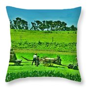 Amish Gathering Hay Throw Pillow