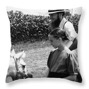 Amish Girl And Pony Throw Pillow