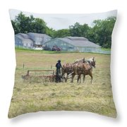 Amish Girl Raking Hay As Painting Throw Pillow