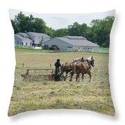 Amish Girl Raking Hay Photo Throw Pillow