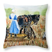 Amish Girl With Buggy Throw Pillow