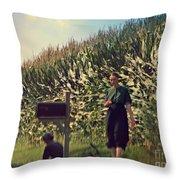 Amish Girls Watermelon Break Throw Pillow
