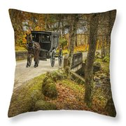 Amish Horse And Buggy Crossing A Bridge Throw Pillow