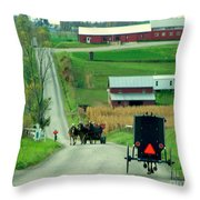 Amish Horse And Buggy Farm Throw Pillow