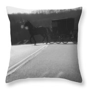 Amish Horse And Buggy In Winter Throw Pillow