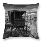 Amish Horse Buggy In Black And White Throw Pillow