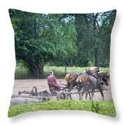 Amish Lady Disking Throw Pillow