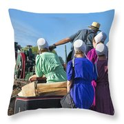 Amish On Steam Engine Throw Pillow