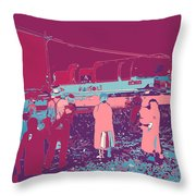 Amish Red And Blue Throw Pillow