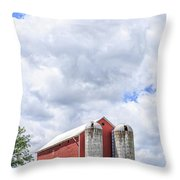 Amish Red Barn And Silos Throw Pillow
