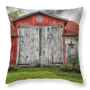Amish Red Barn Throw Pillow