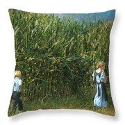 Amish Siblings In Cornfield  Throw Pillow
