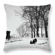 Amish Sled Ride Throw Pillow