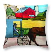 Amish Stained Glass Throw Pillow