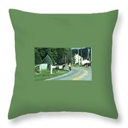 Amish Teacher Going To School Throw Pillow