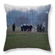Amish Teens At An Easter Monday Gathering Throw Pillow