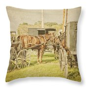 Amish Wagons Throw Pillow