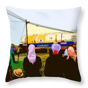 Amish Watching A Nuclear Reactor Go By Throw Pillow
