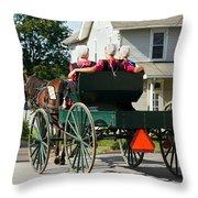 Amish Women Throw Pillow