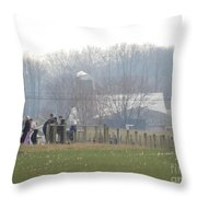 Amish Youth Gather After A Volleyball Game Throw Pillow